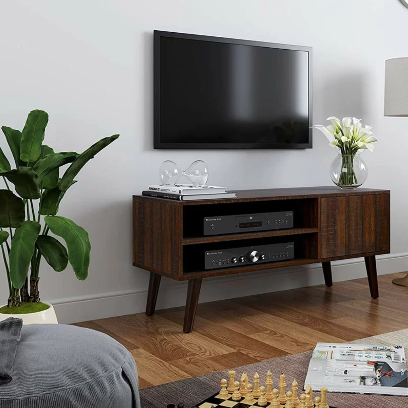 The TV stand in walnut