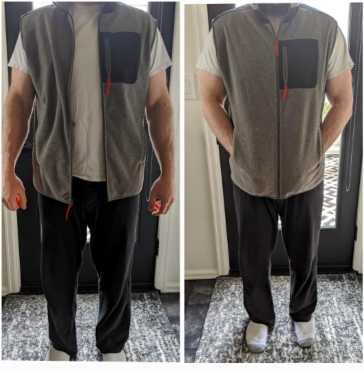 reviewer wearing vest unzipped in left photo and zipped in right photo