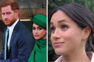 Meghan and Harry at an event / Meghan giving an interview
