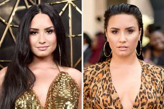 Demi Lovato wearing a shimmery dress and an animal print dress