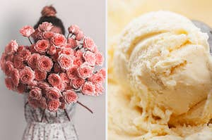 A big bouquet of beautiful pink flowers on the left and a scoop or cream vanilla ice cream on the right