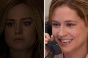 Captain Marvel is on the left with Pam Beesly talking on the phone on the right