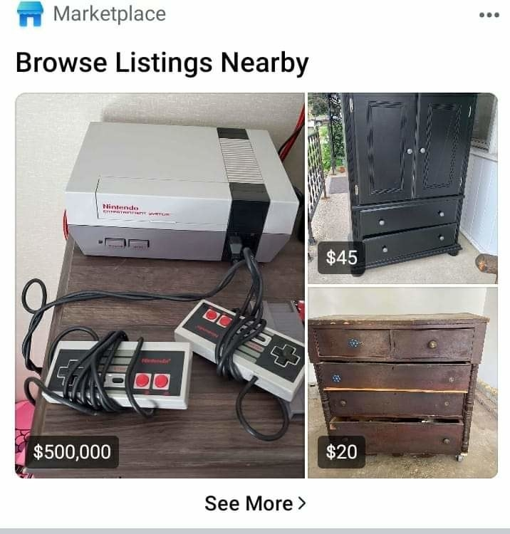 An original Nintendo that's listed on Marketplace for $500,000