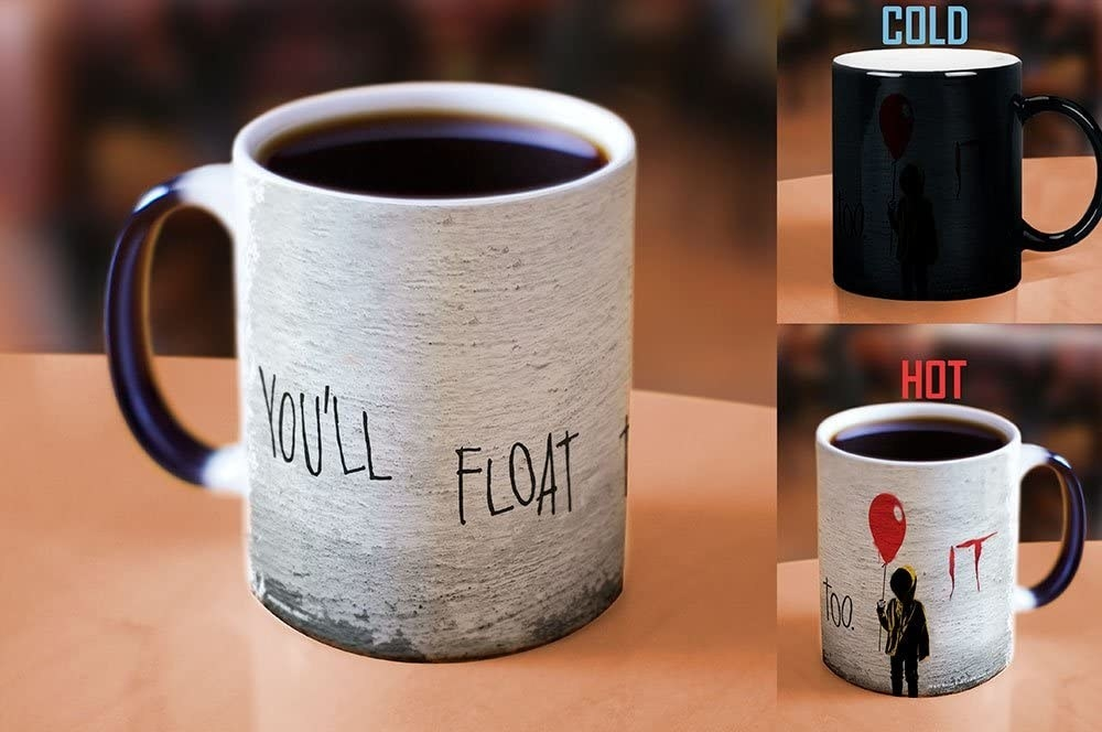 the heat-changing mug that's black when cold and reveals an It-inspired design when hot