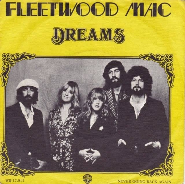 "The single cover for ""Dreams"" with a photo of Fleetwood Mac on it surrounded with a yellow border."