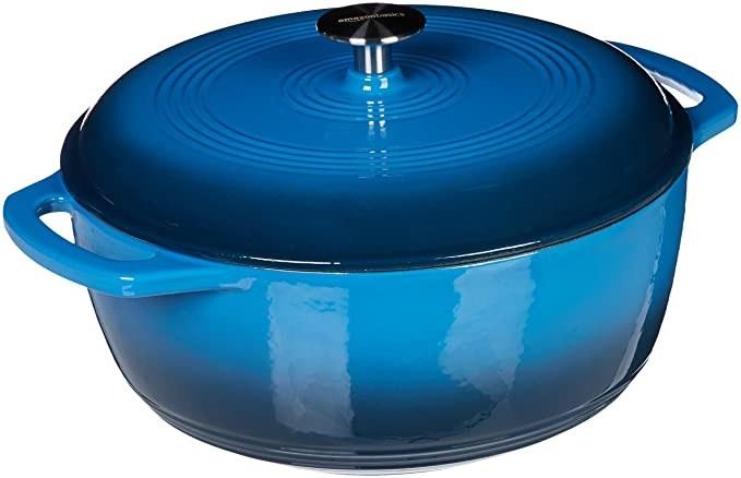 Blue, enamel coated cast iron pot.