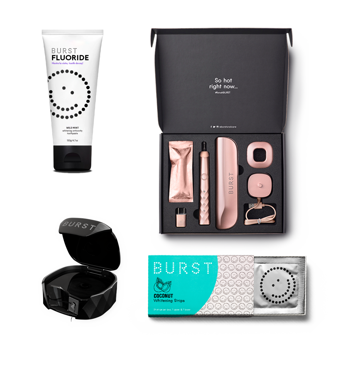 the set which comes with all rose gold dental care items, whitening strips, and toothpaste