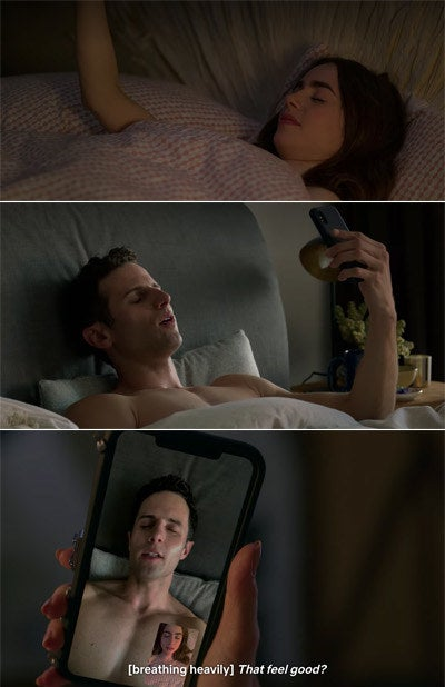 Emily and Doug video chatting while masturbating