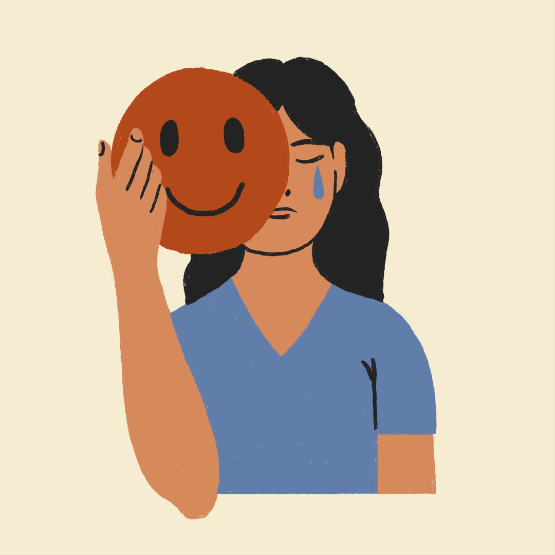 a crying woman putting on a mask of a smiling face