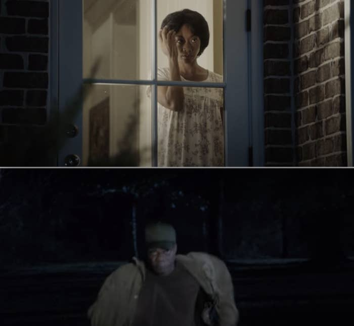 Georgina staring at her reflection in her bedroom window, and Walter running towards Chris with his hat on