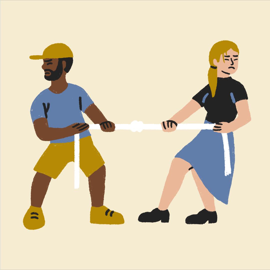 two people playing tug of war