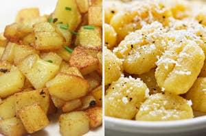 home fries and potato gnocchi