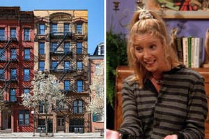 A NYC apartment building with beautiful trees blooming in front of it on the left, and Phoebe Buffay on the right