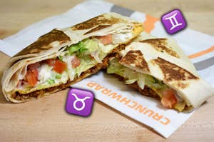 A crunchwrap surrounded by different zodiac sign emojis