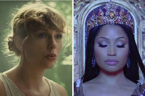 Taylor Swift is on the left singing with Nicki Minaj on the right wearing a crown