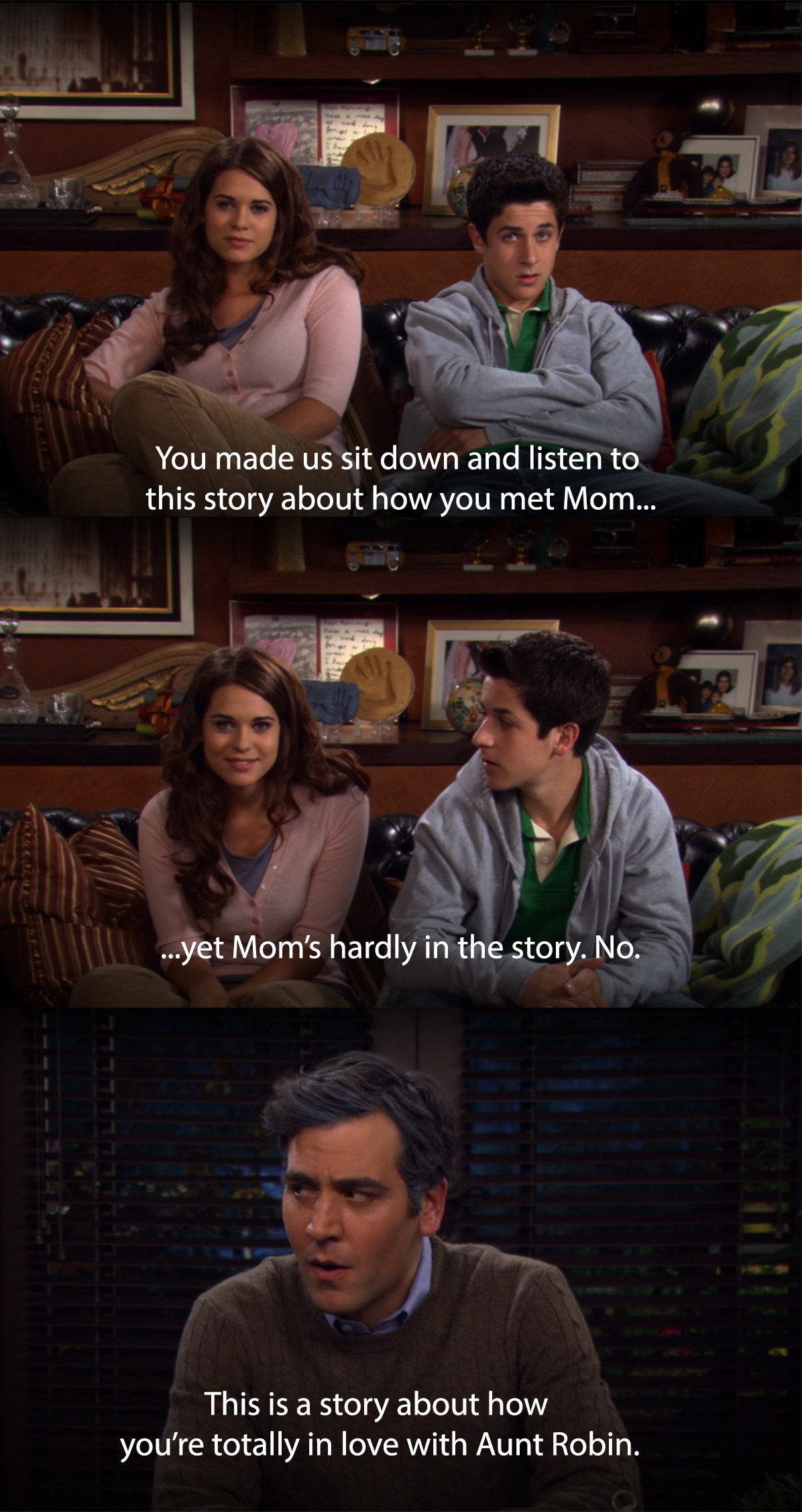 Ted's kids tell him that his story was actually about how much he loves Robin