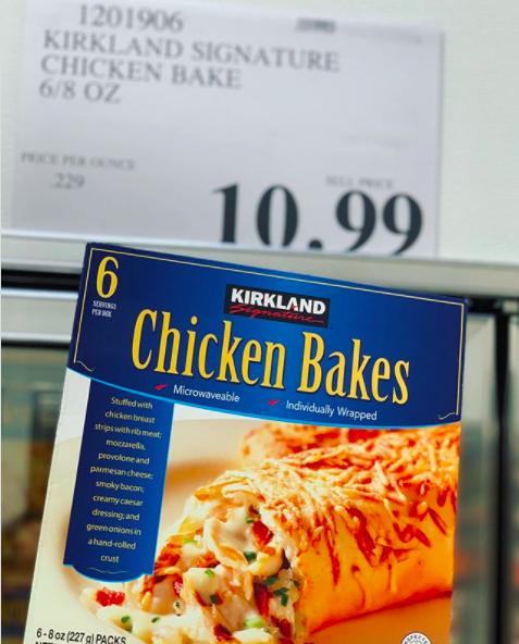 A box of Kirkland's chicken bakes.