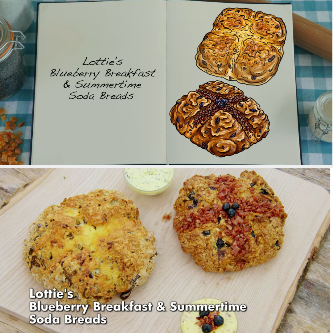 Lottie's savory and sweet soda bread loaves side by side with their drawings
