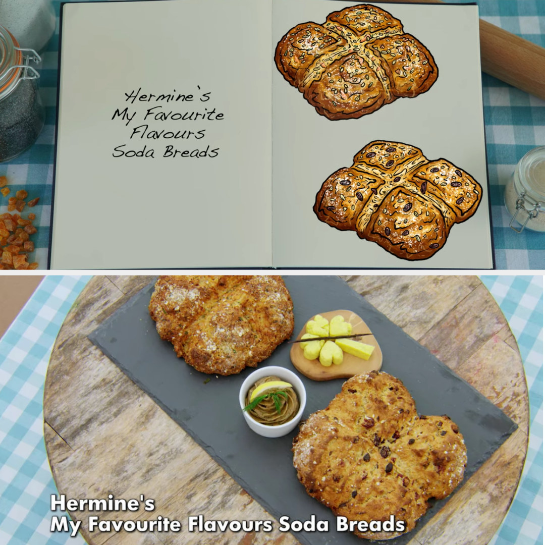 Hermine's savory and sweet soda bread loaves side by side with their drawings