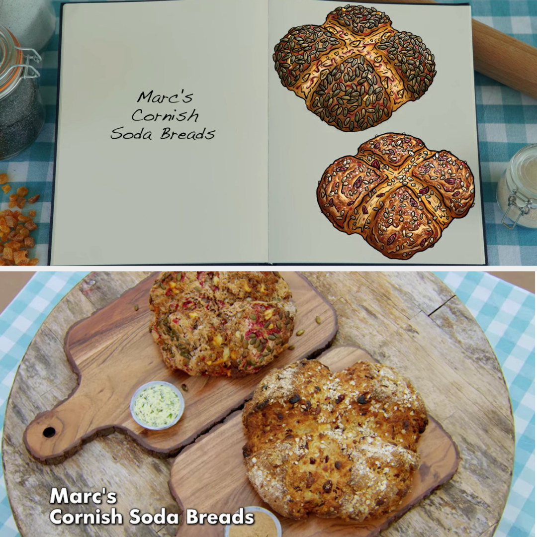 Marc's savory and sweet soda bread loaves side by side with their drawings