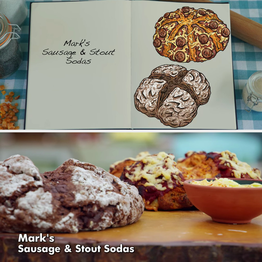 Mark's savory and sweet soda bread loaves side by side with their drawings