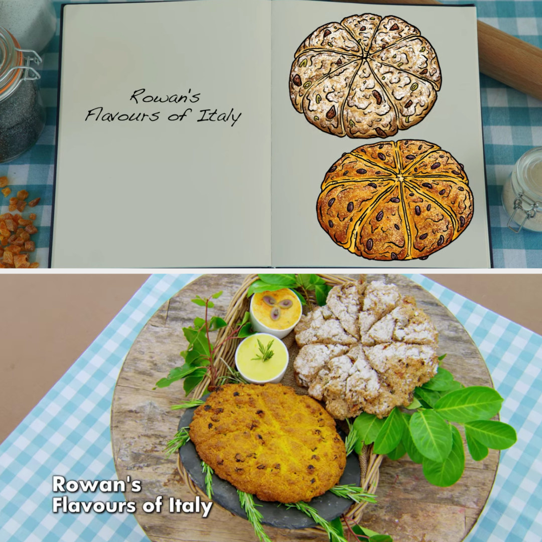 Rowan's savory and sweet soda bread loaves side by side with their drawings