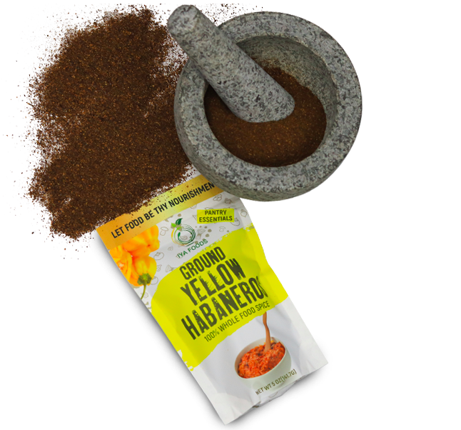 The packet of ground yellow habanero with the ground spice, which is dark brown