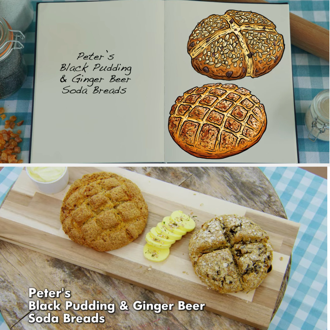 Peter's savory and sweet soda bread loaves side by side with their drawing
