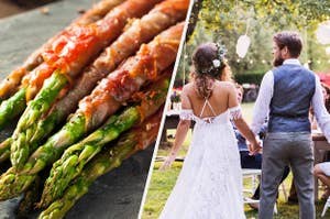 Bacon wrapped asparagus and bride and groom standing out in garden with family and friends
