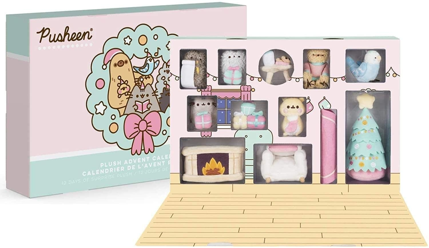the advent calendar box which is pastel pink and blue and filled with adorable plush figures