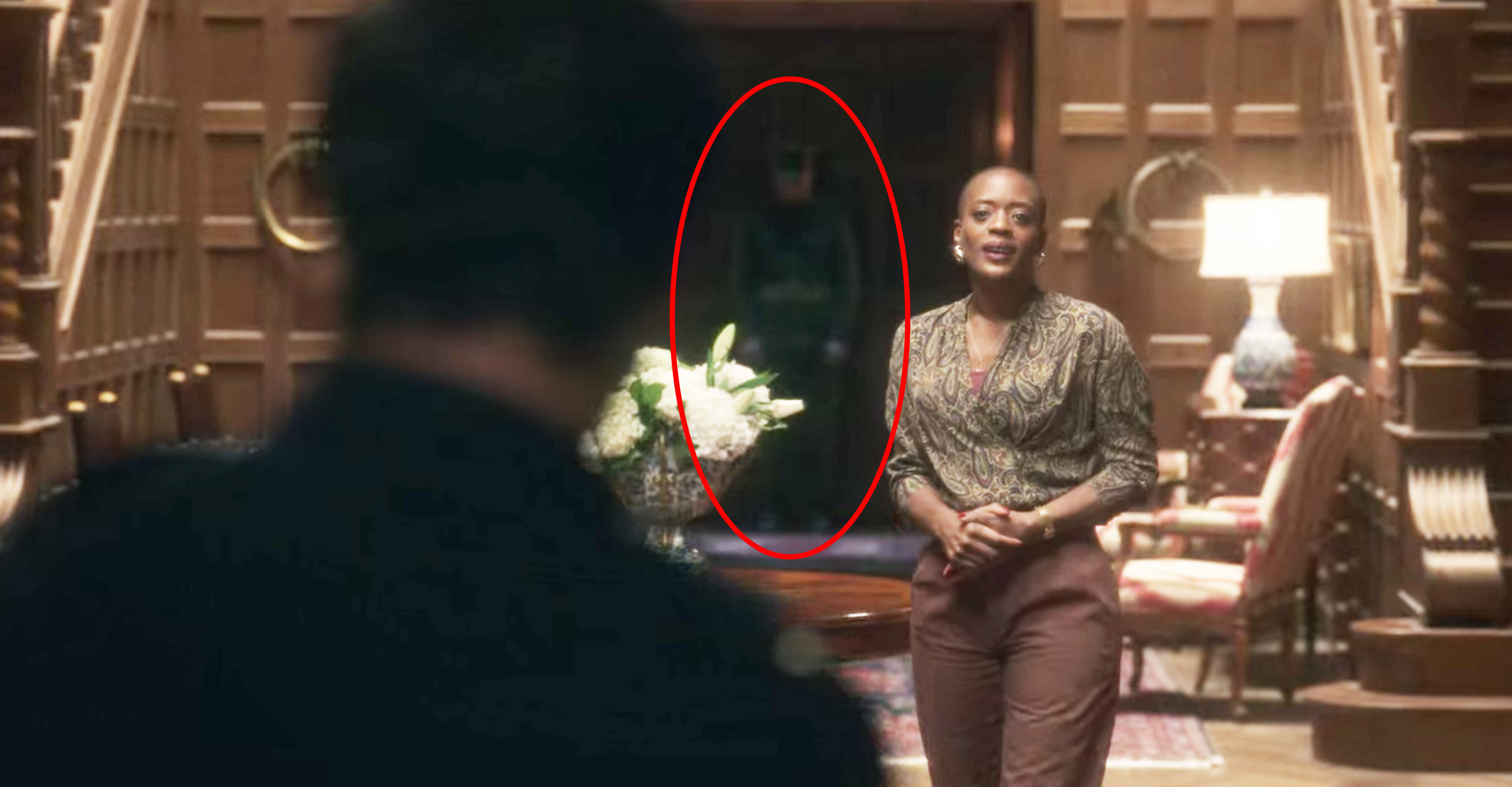 The soldier ghost standing behind Hannah