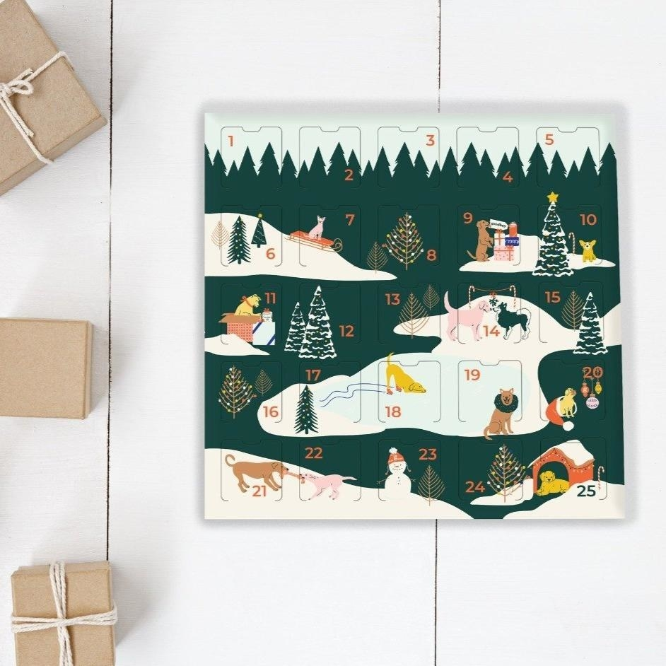 an advent calendar depicting dogs playing in snow