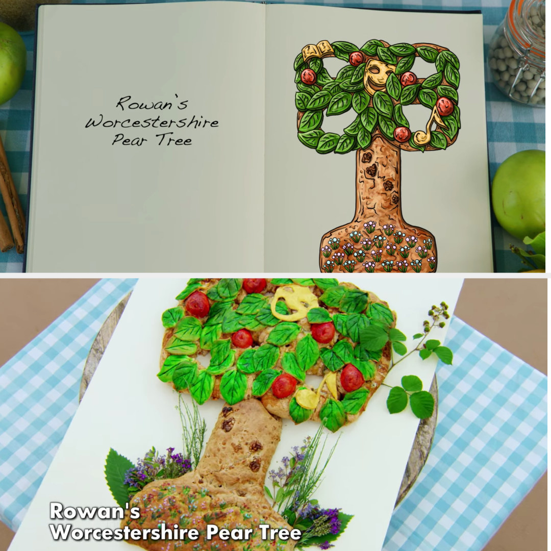Rowan's plaque decorated to look like a colorful pear tree side-by-side with the drawing