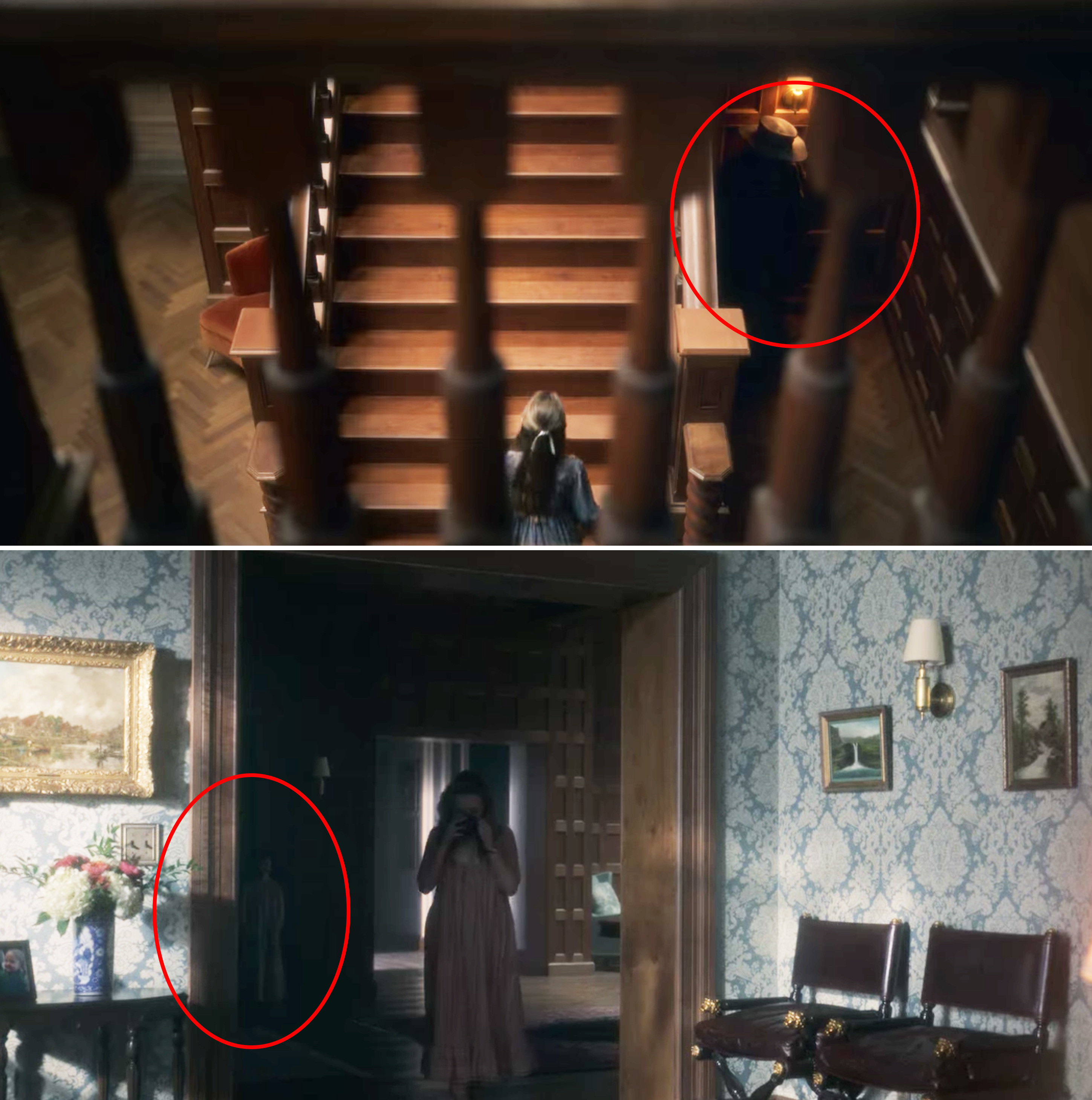 The plague doctor hiding near the stairs, and the small doll/child behind Dani in the foyer