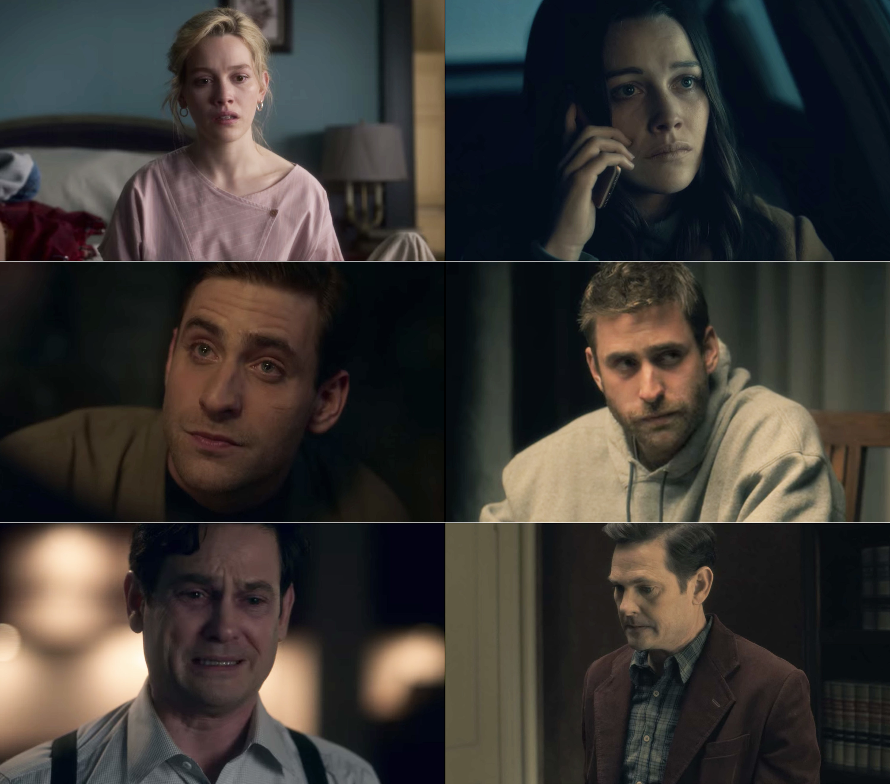Victoria Pedretti, Oliver Jackson-Cohen, and Henry Thomas in Bly Manor vs. Hill House