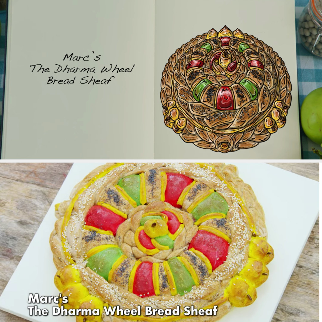 Marc's colorful bread sheaf side-by-side with the drawing