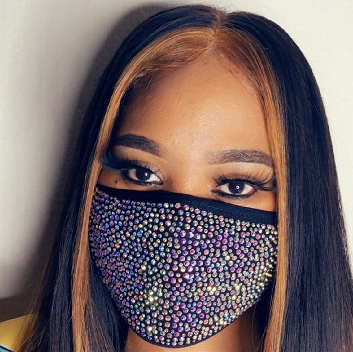rhinestone covered mask