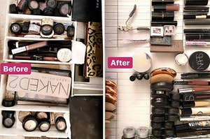An organized makeup rack.