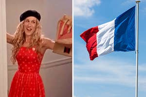 """On the left, Sarah Jessica Parker wears a beret and holds a bag of McDonald's as Carrie on """"Sex and the City,"""" and on the right, the French flag"""