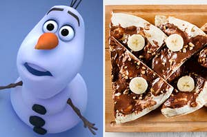 Olaf from frozen on the left, and nutella banana pizza slices on the right