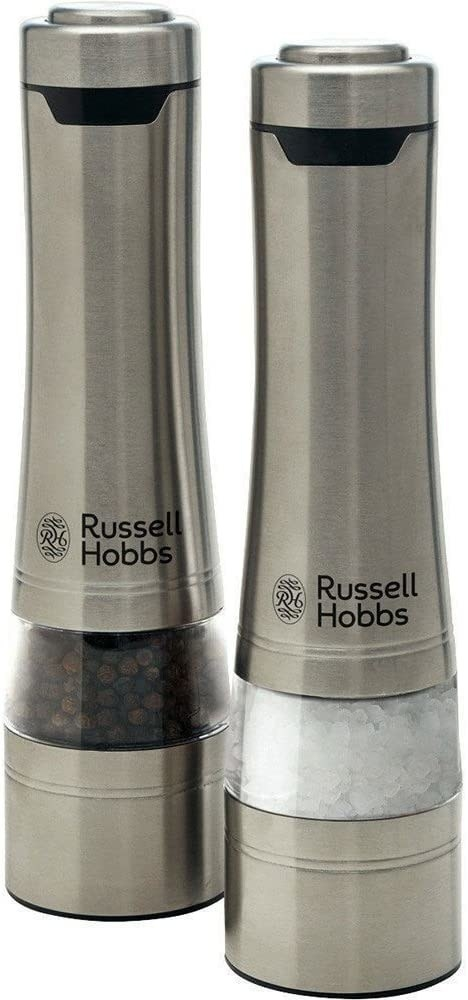 Metallic cylindrical holders with clear sections to see salt and pepper