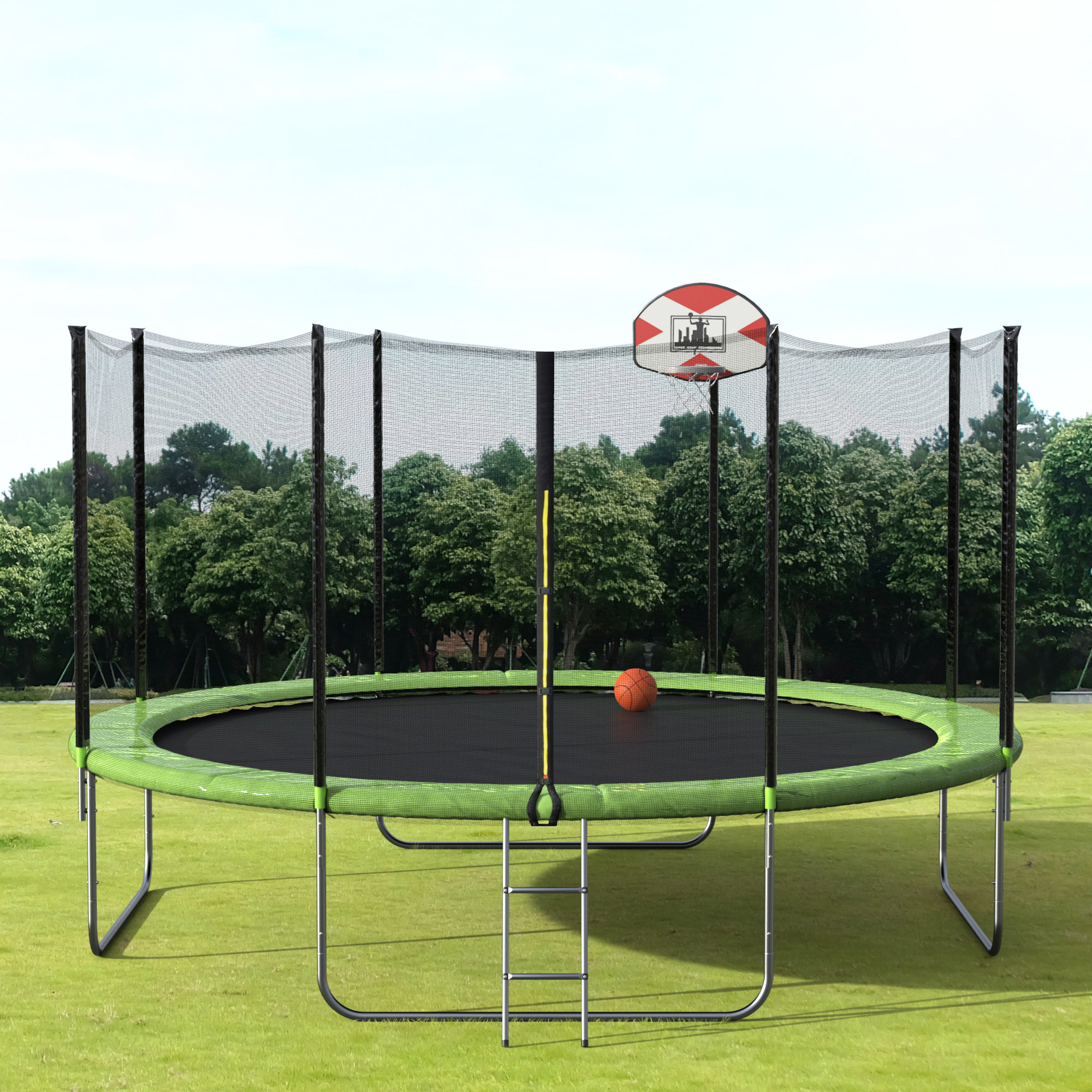 The circular trampoline, with small ladder to enter, four legs, and 10 poles holding up net
