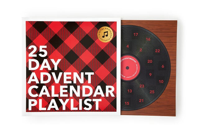 an advent calendar designed to look like a vinyl record