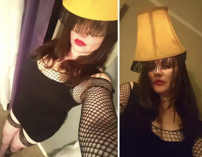 Someone dressed in fishnet stockings with a lamp shade over their head