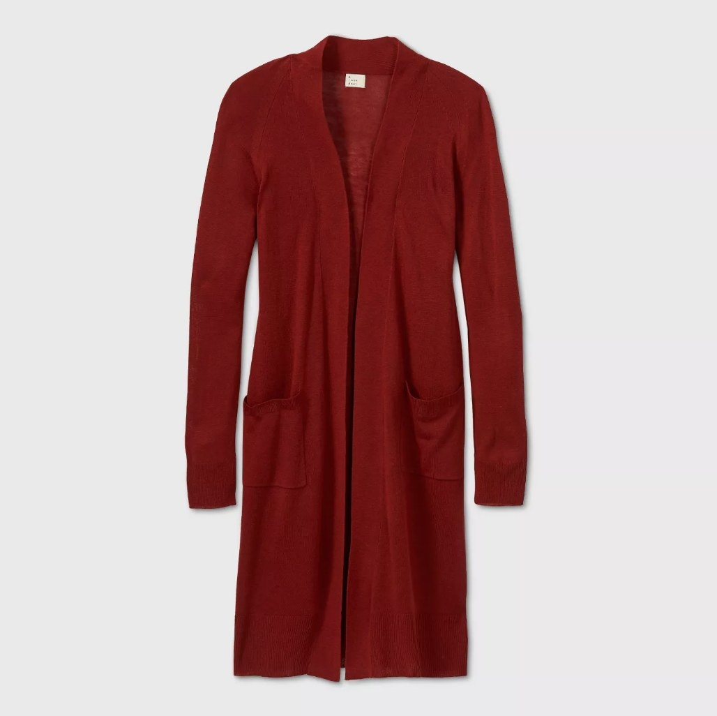 the cardigan in red