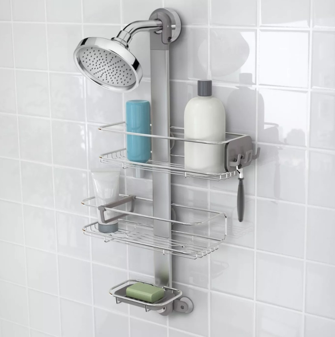 The silver shower caddy