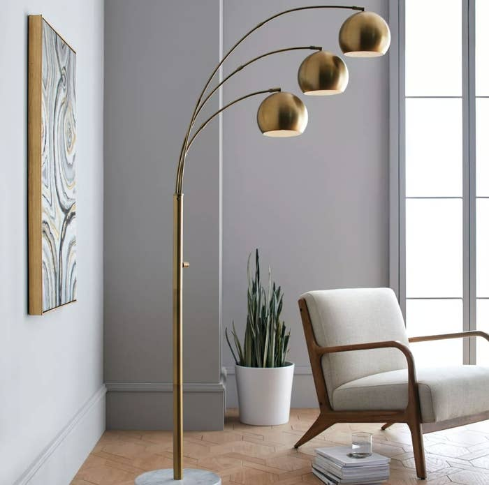 The brass and marble floor lamp