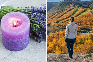 On the left, fresh lavender near a lavender-scented candle, and on the right, someone stands on the top of a mountain and looks out at the fall trees