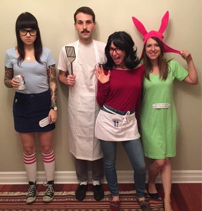 The first person is Tina with glasses, a skirt, and sneakers. The second person is Bob with an apron and spatula in his hand. The third person is Linda with an apron and glasses. And the last person is Louise with a bunny ears hat.