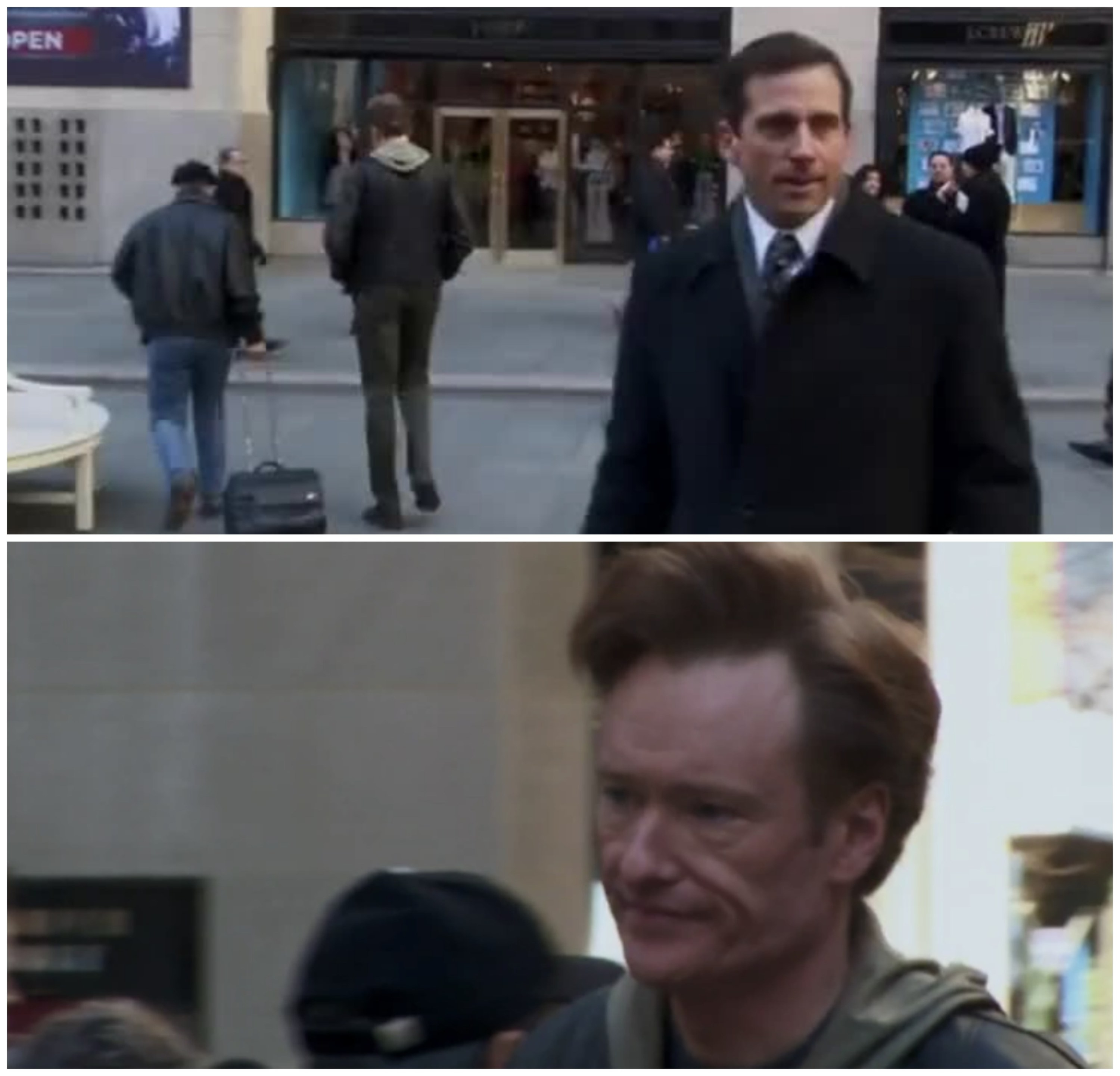 Michael Scott totally misses Conan O'Brien walk by on the streets of New York